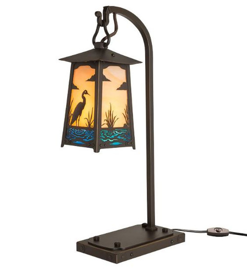 Blue Heron Hook Arm Table Lamp