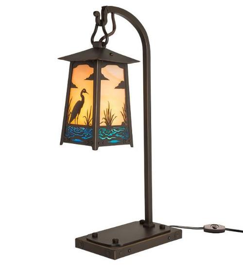 Blue Heron Hook Arm Table Lamp