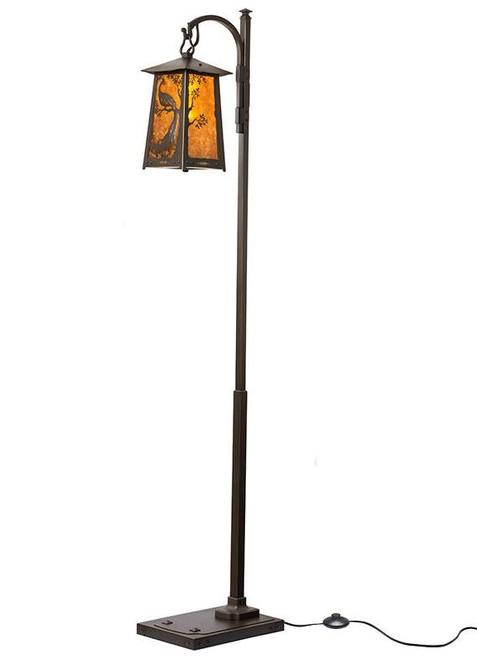 Peacock in Tree Hook Arm Floor Lamp