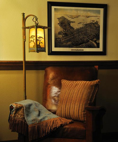 Cobblestone Monterey Cypress  Hook Arm Floor Lamp