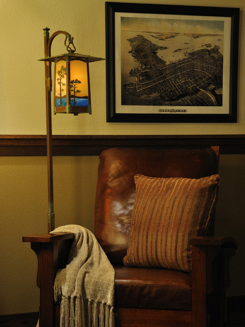 Monterey Pine Hook Arm Floor Lamp