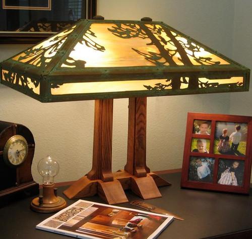 Limbert Double Pedestal Lamp with Old Faithful Inn Shade