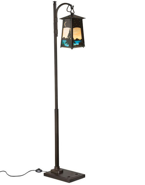 Spruce Filigree Hook Arm Floor Lamp