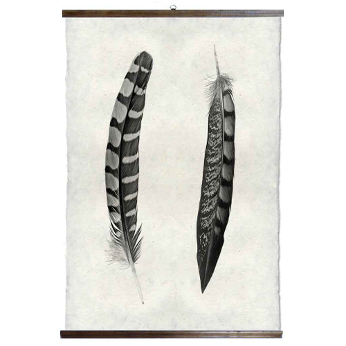 Grand Format Two Curved Feather Print with wood Hanger