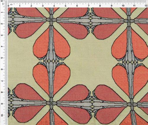 Art Nouveau Floral Window- Fabric by the Yard – Flower Bulb – Terracotta