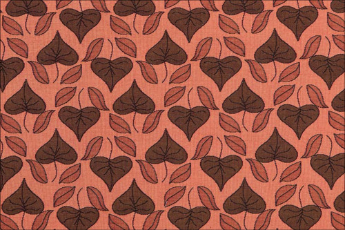 Art Nouveau Floral Window- Fabric by the Yard – Stylized Leaves – Terracotta