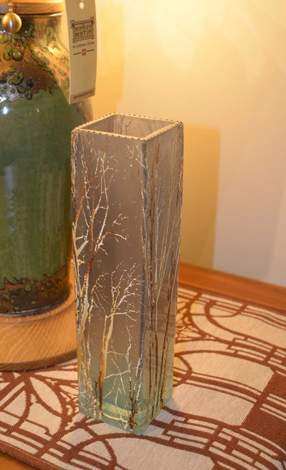 "10"" Cube Forest Blue Glass Vase by Mary-Melinda Wellsandt"