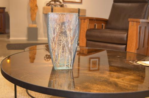 Medium Basket Forest Blue Glass Vase by Mary-Melinda Wellsandt