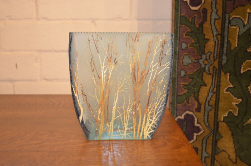 Small Basket Forest Blue Glass Vase by Mary-Melinda Wellsandt