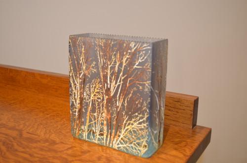 Medium Brick Forest Blue Glass Vase by Mary-Melinda Wellsandt