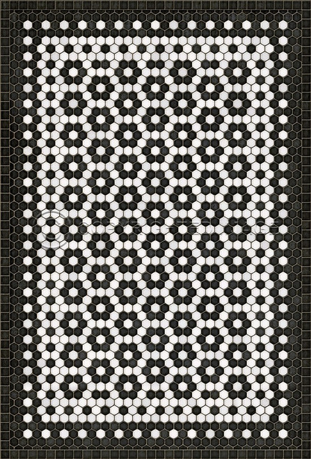 33074 MOSAIC C-CATHERINE ST 38 X 56 Vinyl Floor Cloth