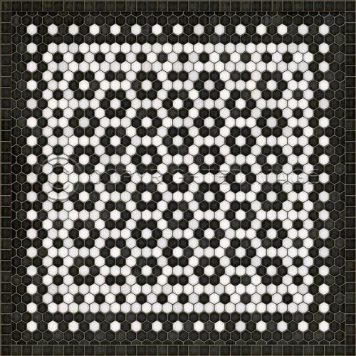 33081 MOSAIC C-CATHERINE ST 36 X 36 Vinyl Floor Cloth