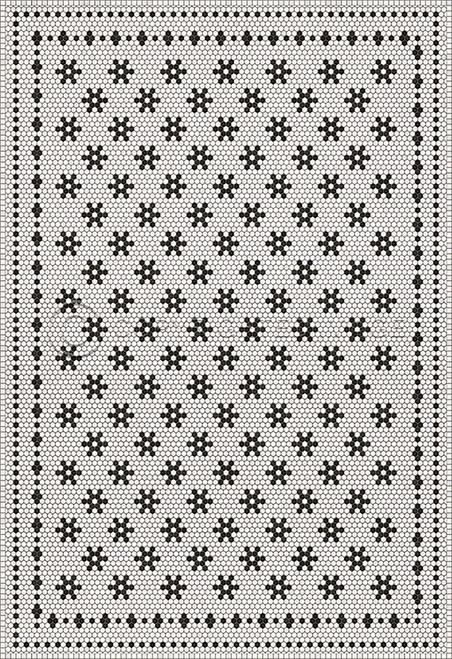 33063 MOSAIC B - CLEMONT AVENUE 96 X 140 Vinyl Floor Cloth