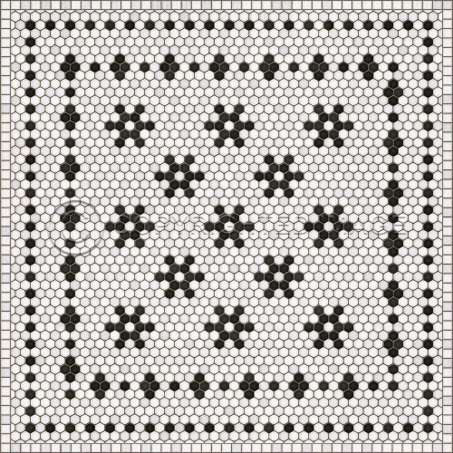 33068 MOSAIC B -CLEMONT AVENUE 48 X 48 Vinyl Floor Cloth