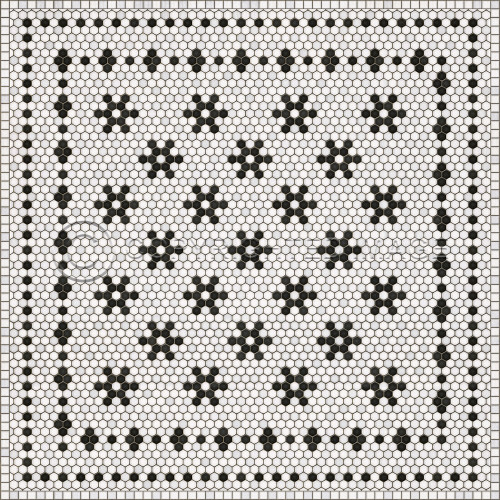 33069 MOSAIC B -CLEMONT AVENUE 60 X 60 Vinyl Floor Cloth
