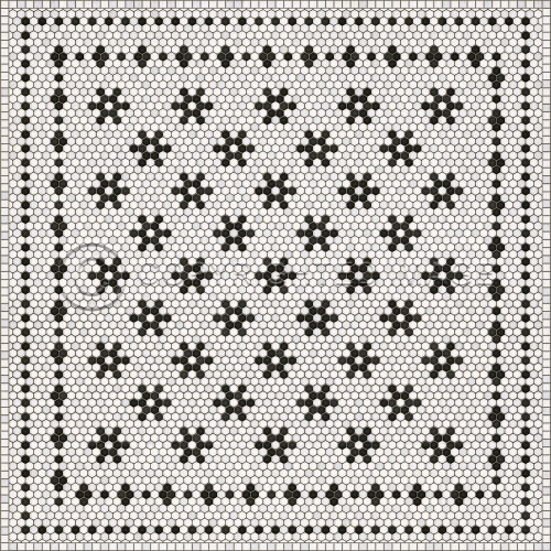 33070 MOSAIC B -CLEMONT AVENUE 72 X 72 Vinyl Floor Cloth