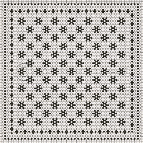 33071 MOSAIC B -CLEMONT AVENUE 96 X 96 Vinyl Floor Cloth