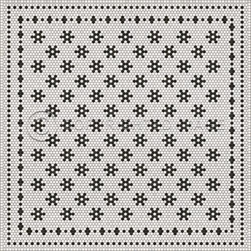 33071 MOSAIC B -CLEMONT AVENUE 96 X 96 Vinyl Floor Cloth