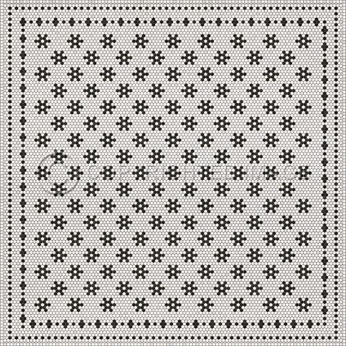 33072 MOSAIC B -CLEMONT AVENUE 120 X 120 Vinyl Floor Cloth