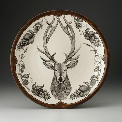 Large Round Platter: Red Stag by Laurel Zindel
