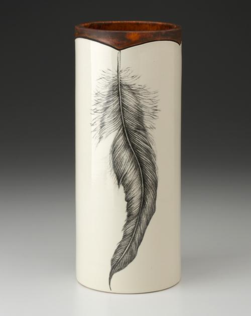 Large Rooster Feather Vase by Laurel Zindel
