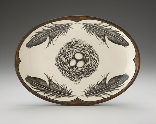 Oval Black Bird Nest Platter by Laurel Zindel