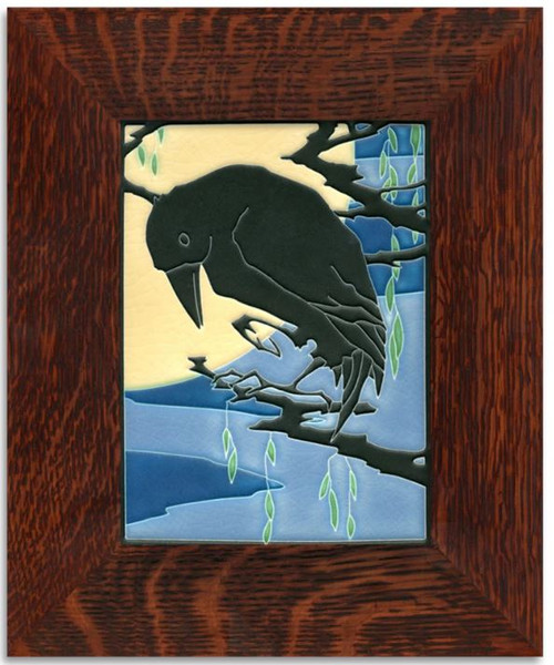Framed 6x8 Raven Midnight Motawi Tile