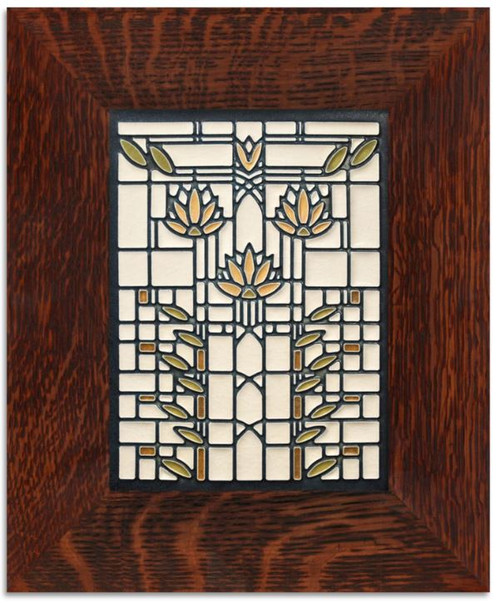 Framed 6x8 Waterlilies Cream Motawi Tile