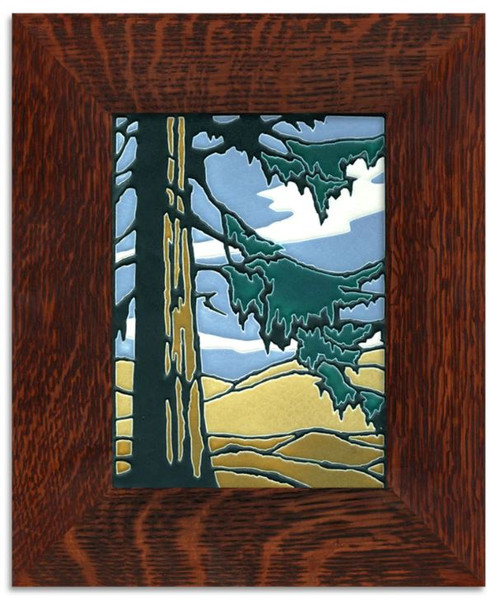 Framed 6x8 Redwood Motawi Tile