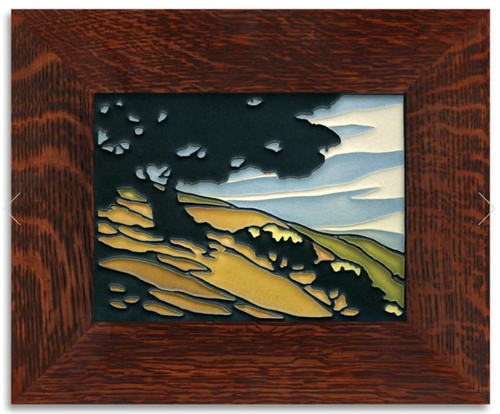 Framed 6x8 California Oak Motawi Tile