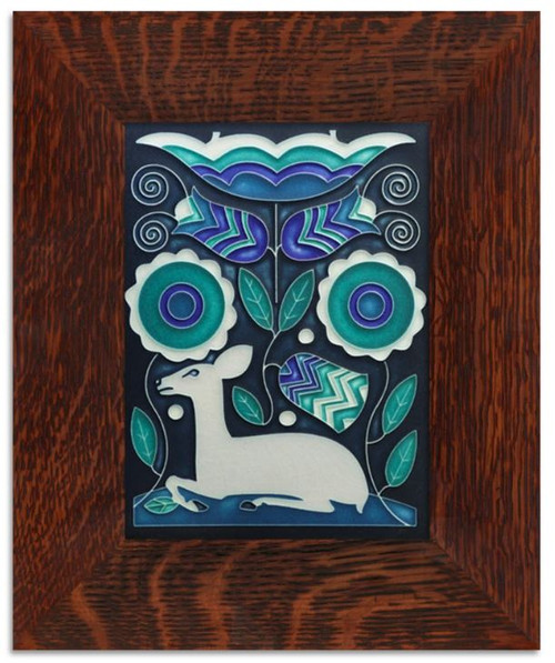 Framed 6x8 Vienna Woods Blue Motawi Tile