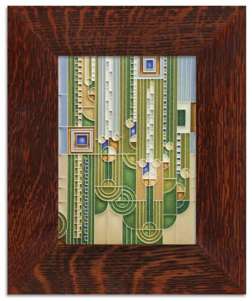 Framed 6x8 Saguaro Green Motawi Tile