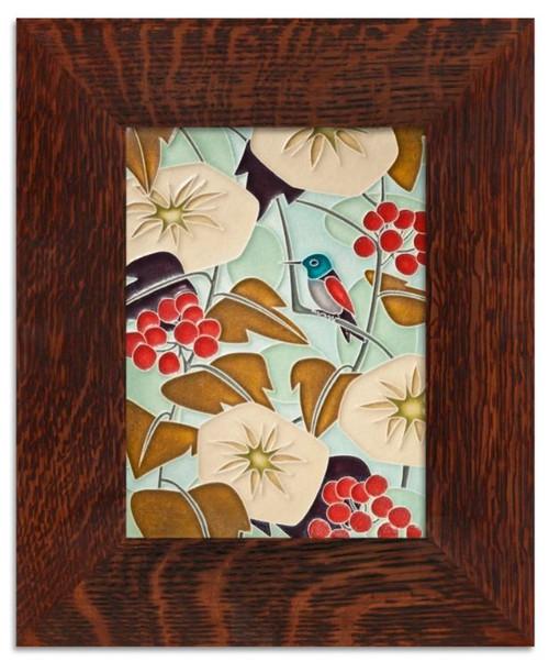 Framed 6x8 Hummingbird Light Blue Motawi Tile