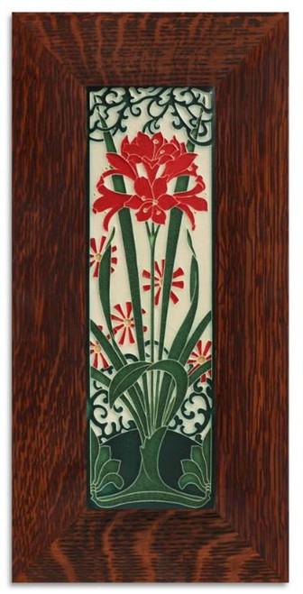 Framed 4x12 Amaryllis Red Motawi Tile
