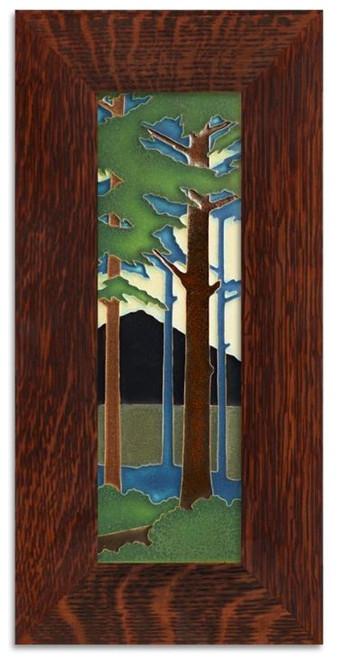 Framed 4x12 Pine Landscape Motawi Tile
