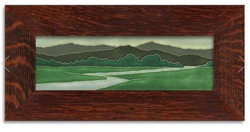 Framed 4x12 Riverscape Motawi Tile