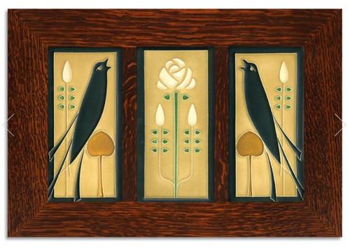 Framed 4x8 Songbirds Golden Tile Set by Motawi