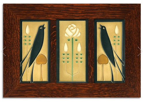 Framed 4x8 Songbirds Golden Tile Set by Motawi
