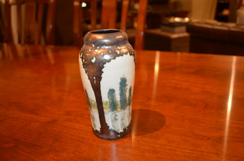 Small Scenic Bronze Luster Vase by Hog Hill Pottery