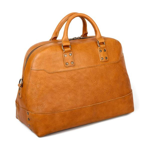 Heritage Leather Stateroom Oak Weekender Bag