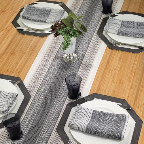"Honeycomb Gray 90"" Table Runner"