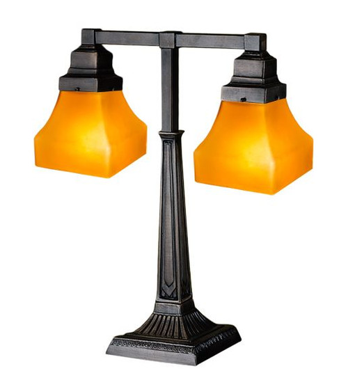 """20""""H Bungalow Frosted Amber 2 Arm Desk Lamp 111803-M"""