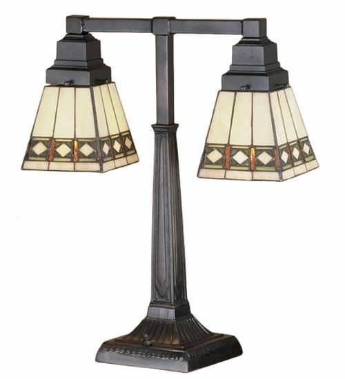 "20""H Diamond Band Mission 2 Arm Desk Lamp 48204"