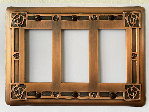 Bungalow Rose Triple GFI Copper Switchplate Cover