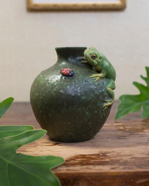Frog's Life Ceramic Pottery Vase by Ephraim Pottery
