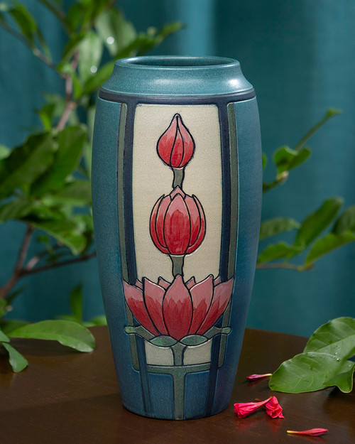 Blooming Lotus Ceramic Pottery Vase by Ephraim Pottery