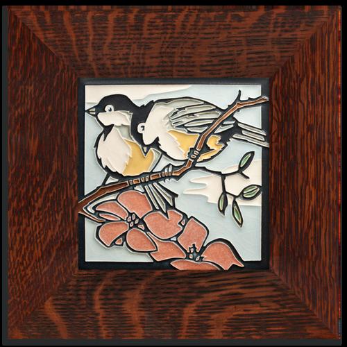 Framed 6x6 Spring Chickadees