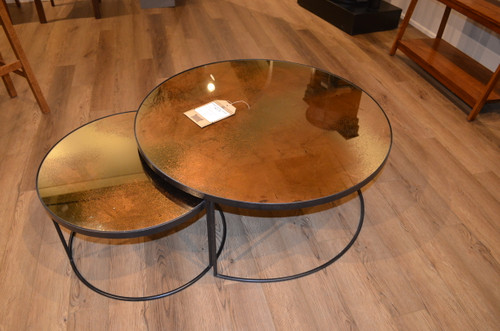 """36"""" and 24"""" Round Glass Nesting Coffee Table"""