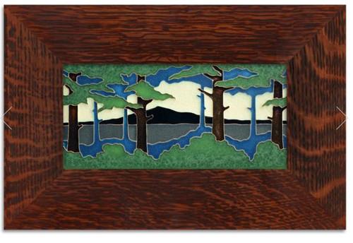 Framed 4x8 Pine Summer Landscape Motawi Tile