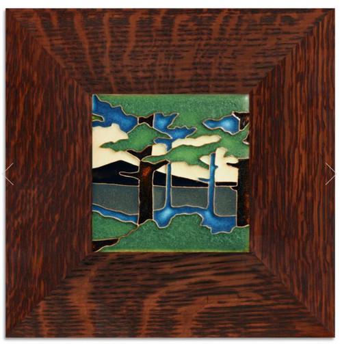 Framed 4x4 Pine Landscape Mountain Motawi Tile